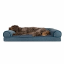 FurHaven Memory Top Sofa Pet Bed Faux Fleece & Chenille - Orion Blue (Large)