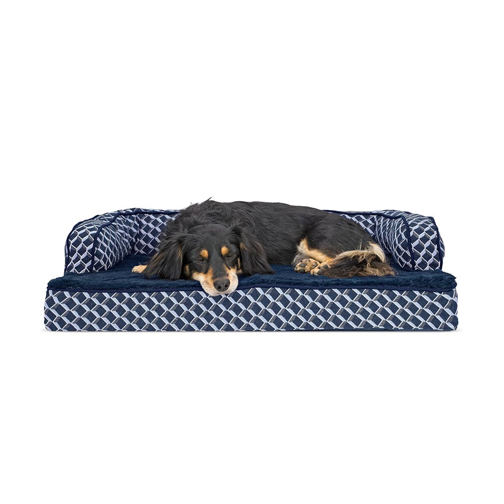 Furhaven Plush Decor Comfy Couch Orthopedic Sofa Style Pet Bed Diamond Blue Medium Healthypets