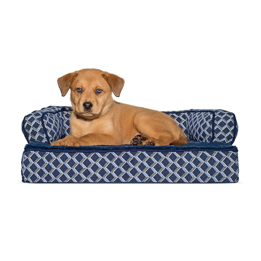 Superb FurHaven Plush U0026 Decor Comfy Couch Orthopedic Sofa Style Pet Bed   Diamond  Blue (Small) | Healthypets