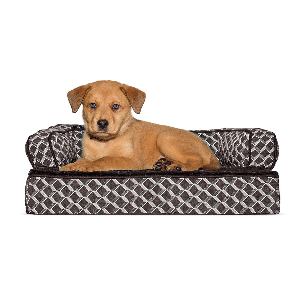 Pleasing Furhaven Plush Decor Comfy Couch Orthopedic Sofa Style Pet Bed Diamond Brown Small Bralicious Painted Fabric Chair Ideas Braliciousco