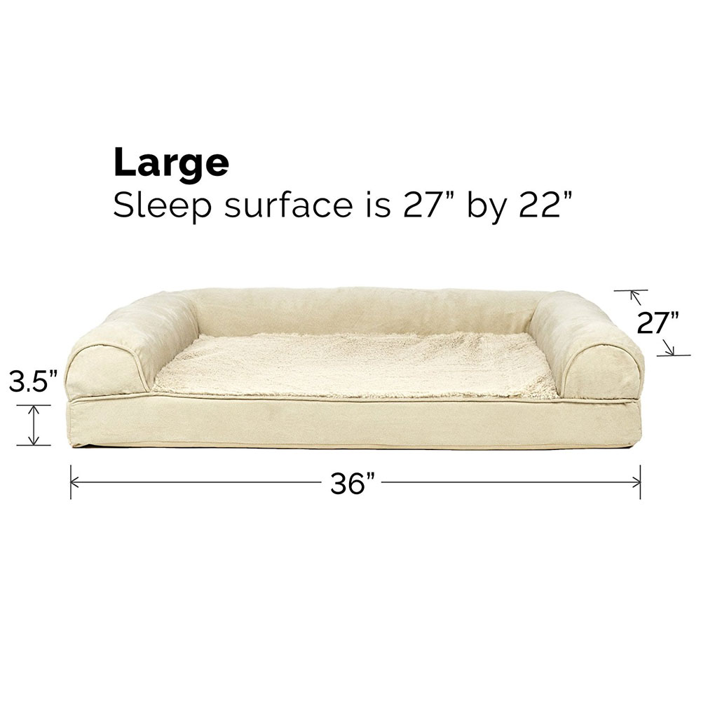 Furhaven Plush Suede Orthopedic Sofa Pet Bed Clay Large