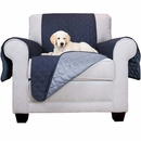 FurHaven Reversible Chair Protector - Navy/Light Blue