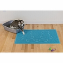 FurHaven Tiger Tough Lovecats Tidy Paws Litter & Food Mat - Robin's Egg
