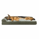 FurHaven Two-Tone Faux Fur & Suede Deluxe Chaise Lounge Pillow Sofa-Style Pet Bed - Dark Sage (Jumbo)
