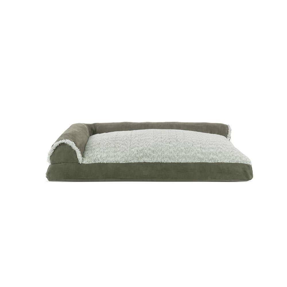 Admirable Furhaven Two Tone Faux Fur Suede Deluxe Chaise Lounge Pillow Sofa Style Pet Bed Dark Sage Large Bralicious Painted Fabric Chair Ideas Braliciousco