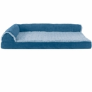 FurHaven Two-Tone Faux Fur & Suede Deluxe Chaise Lounge Pillow Sofa-Style Pet Bed - Marine Blue (Medium)