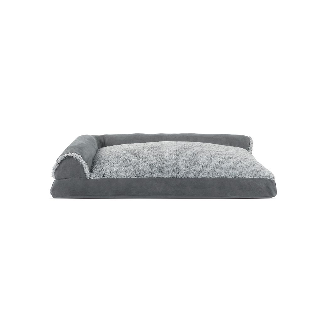 Enjoyable Furhaven Two Tone Faux Fur Suede Deluxe Chaise Lounge Pillow Sofa Style Pet Bed Stone Gray Large Alphanode Cool Chair Designs And Ideas Alphanodeonline