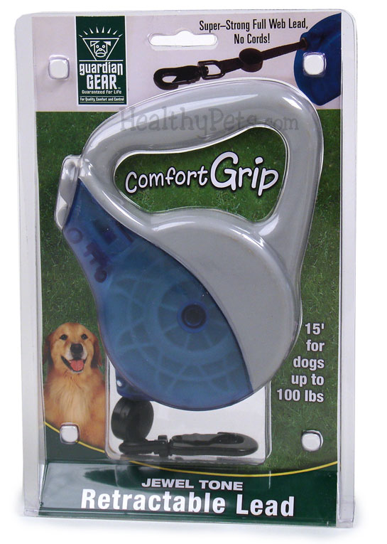 Guardian Gear Comfort Grip Retractable Leads Jewel Tone Blue Grey Up To 100 Lbs On Sale Healthypets