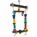 Happy Beaks Toy - Natural Wood Swing with Rope