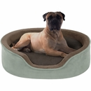 "JLA Pets Milo Oval Cuddler with Cushion - Green/Chocolate (21x27"")"