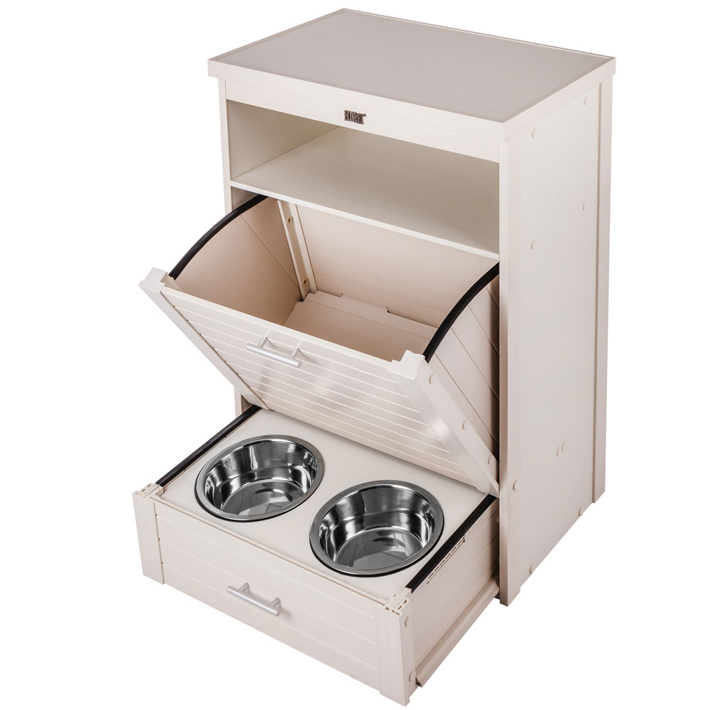 New Age Pet Dog Food Pantry Double Bowl Antique White Healthypets