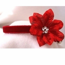 Rhinestone Dog Collars - Red Velvet Poinsettia (Small)