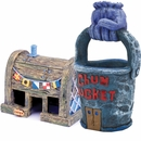 Spongebob Chum Bucket & Krusty Krab Aquarium Ornament Set