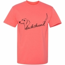 Women's T-Shirt - Dachshund Handwritten - Medium (Coral Silk)