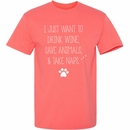 Women's T-Shirt - Drink, Save, and Nap - Medium (Coral Silk)