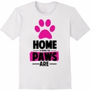 Women's T-Shirt - Home Is Where The Paws Are - Large (White)