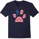 Women's T-Shirt - Patriotic Paw Print - Large (Navy)