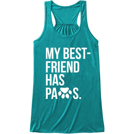 Women's Tank Tops - My Best Friend Has Paws - Large (Teal)