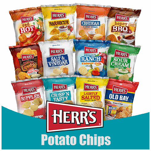 Assorted 2.75 oz. Potato Chips (24) per case.