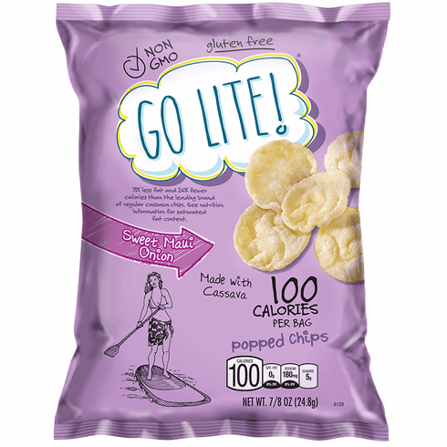 Go Lite! Sweet Maui Onion Popped Chips are back!  (32 or 64) 7/8 oz. bags per case.