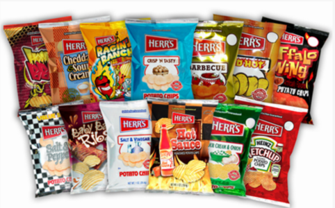 Herr's®  6.5 - 7.0 oz. ASSORTED Unique Flavored Potato Chips  (12) 6.5-7.0 oz. bags per case.