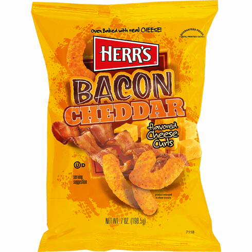 Herr's® Bacon Cheddar Cheese Curls (9) 7 oz. bags per case