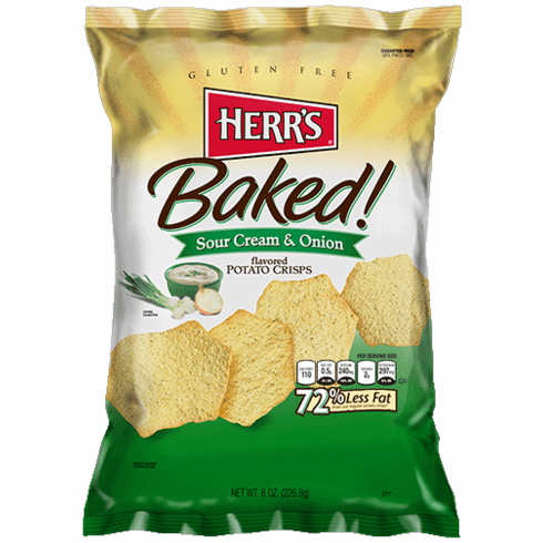 Herr's® Baked Sour Cream & Onion Potato Crisps (9) 8 oz. bags per case.