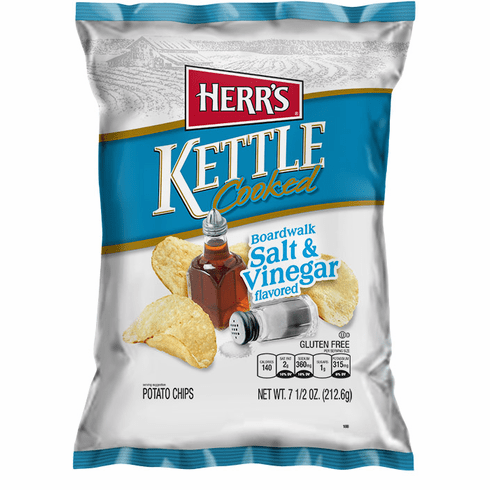 Herr's® Boardwalk Salt & Vinegar Kettle Cooked Potato Chips (12) - 7.5 oz.<br> bags per case
