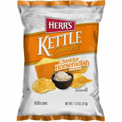 Herr's® Cheddar Horseradish Kettle Cooked Chips (12) 7.5 <br>oz. Bags per case