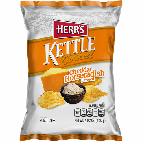 Herr's® Cheddar & Horseradish Kettle Cooked Potato Chips  (12) - 7.5 oz. <br>bags per case