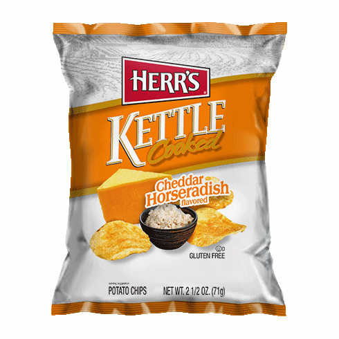Herr's® Cheddar & Horseradish Kettle Cooked Potato Chips (24) -2.5 oz.<br> bags per case