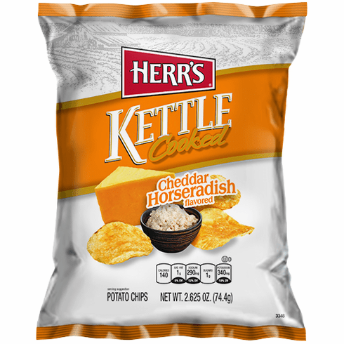 Herr's® Cheddar & Horseradish Kettle Cooked Potato Chips  (24) -2.625 oz. bags per case