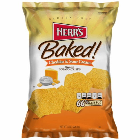 Herr's® Cheddar & Sour Cream Baked (9) 8 oz. bags per case