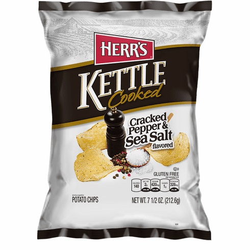 Herr's® Cracked Pepper & Sea Salt Kettle Cooked Potato Chips (12) 7.5 oz.<br> bags per case