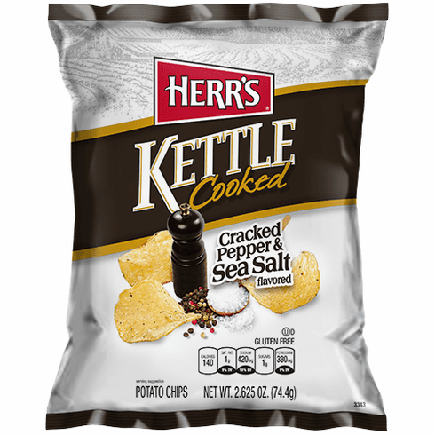Herr's® Cracked Pepper & Sea Salt Kettle Cooked Potato Chips (24) 2.625 oz. bags per case