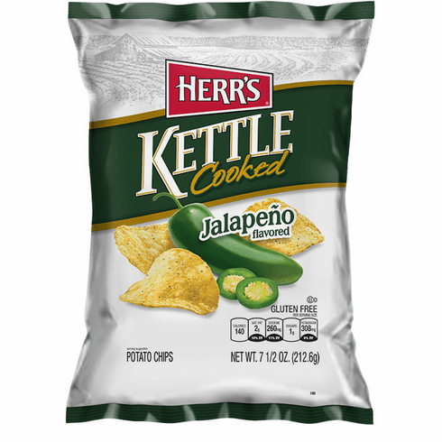 Herr's® Jalapeno Kettle Cooked Potato Chips (12) - 7.5 oz. bags per case