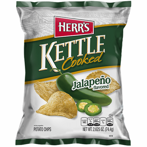 Herr's® Jalapeno Kettle Cooked Potato Chips (24) 2.625 oz. bags per case