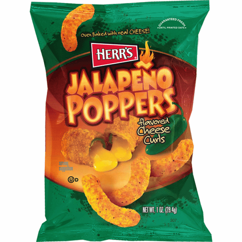 Herr's® Jalapeno Poppers flavored Cheese Curls 1oz. (42 or 84  bags) per case