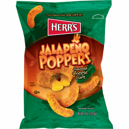Herr's® Jalapeno Poppers flavored Cheese Curls Now in the Big Bag 8 oz.(9 )bags per case