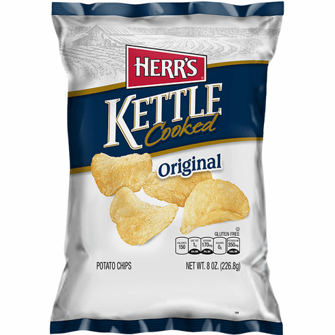 Herr's® Kettle Cooked Chips (12) 7.5 <br>oz. Bags per case