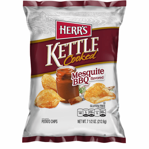 Herr's® Mesquite BBQ Kettle Cooked Potato Chips (12) 7.5 oz. bags