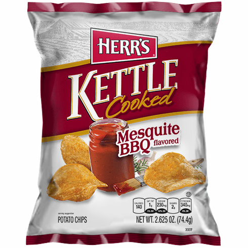 Herr's® Mesquite BBQ Kettle Cooked Potato Chips (24) 2.625 oz. bags <br>per case