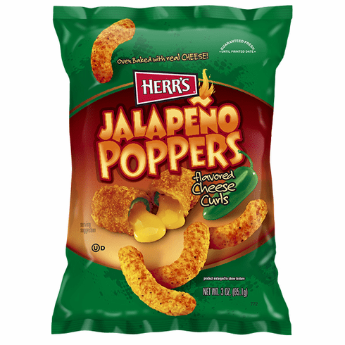 Herr's® New Jalapeno Poppers flavored Cheese Curls 3oz. (20) bags per case