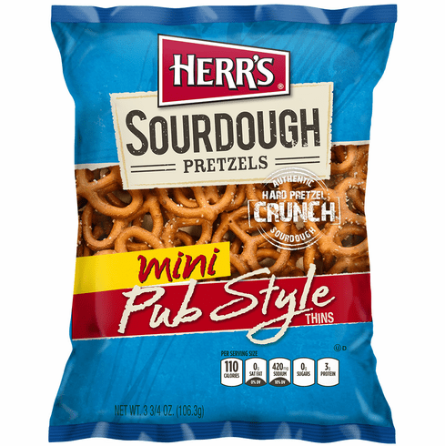 Herr's® New Sourdough Mini Pub Style Pretzels (20) 3.75 oz. bags per case