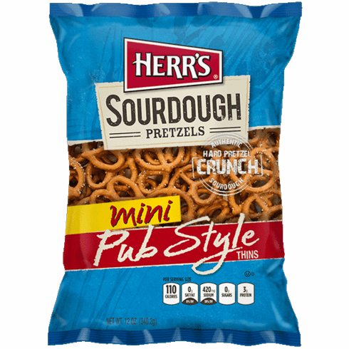 Herr's® New Sourdough Mini Pub Style Pretzels (7) 12 oz. bags per case