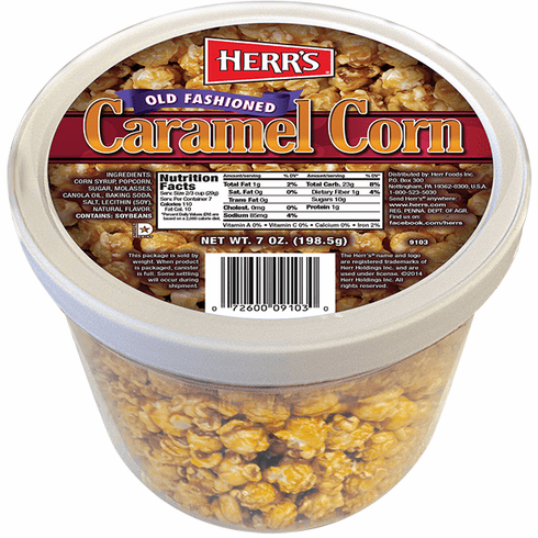 Herr's® Old Fashioned Caramel Corn (6)- 7 oz. tubs per case