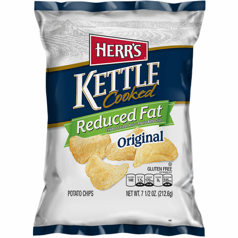 Herr's® Reduced Fat Kettle Cooked Potato Chips (12) 7.5 oz. bags per case