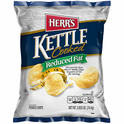 Herr's® Reduced Fat Kettle Cooked Potato Chips (24) 2.625 oz. bags<br> per case