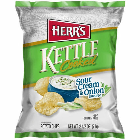 Herr's® Sour Cream & Onion Kettle <br>Cooked Potato Chips (24) 2.5 oz.<br> Bags per case