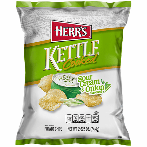 Herr's® Sour Cream & Onion Kettle Cooked Potato Chips (24) 2.625 oz. Bags per case
